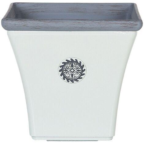 Cache-pot blanc et gris en fibre d'argile 37 x 37 cm