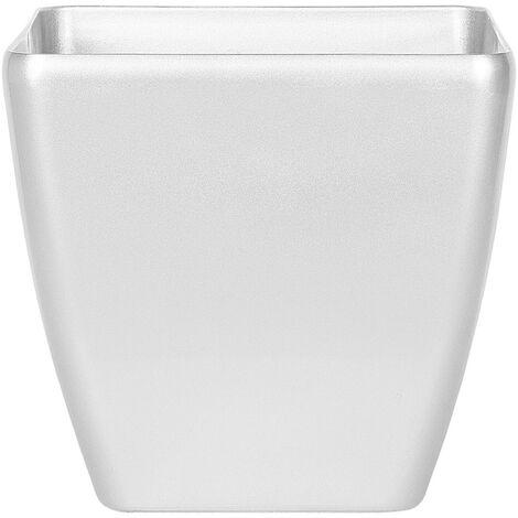 Cache-pot carré 35 cm avec finition argentée brillante