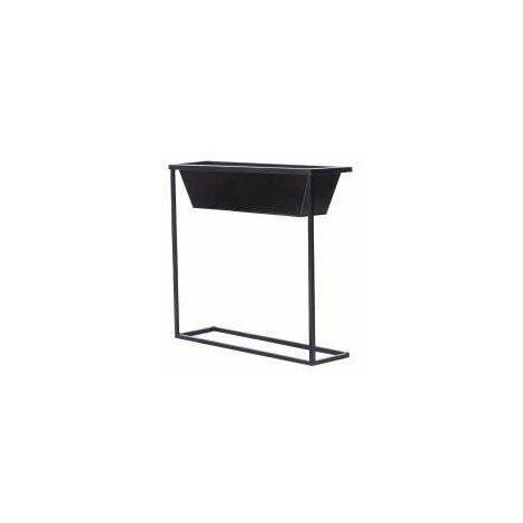 Cache-pot rectangulaire sur pieds en acier galvanisé - 61 x 18 x 60 cm - Noir