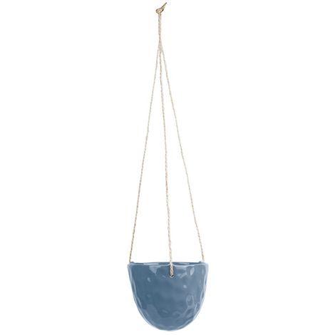 Cache-pot suspendu design Burly - Diam. 15 cm - Bleu jeans