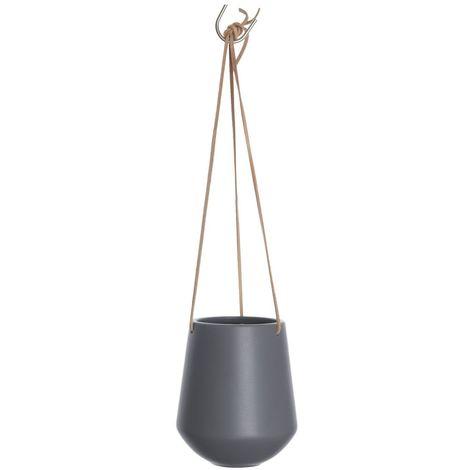 Cache-pot suspendus médium Skittlie - H. 66 cm - Gris mat