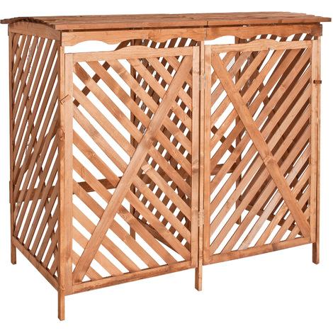 cache poubelle ext rieur en bois pour 2 bennes capacit. Black Bedroom Furniture Sets. Home Design Ideas