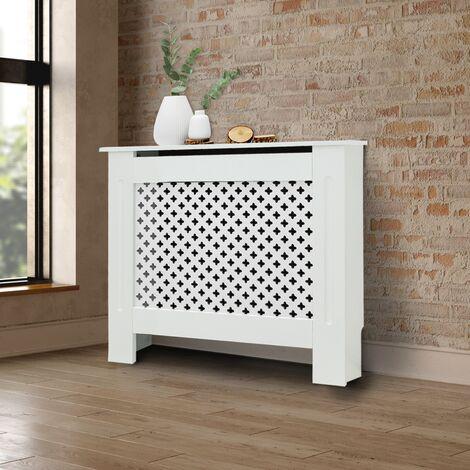 """main image of """"Cache-radiateur couvercle chauffage en MDF motif nid d'abeille 78x19x82 cm blanc"""""""