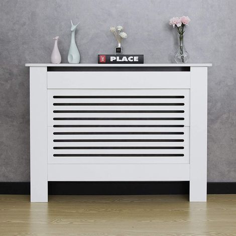 Cache Radiateur - Maison Décoration Moderne pour Salon - Blanc - 111(L)*19(P)*82(H)cm - Mondeer