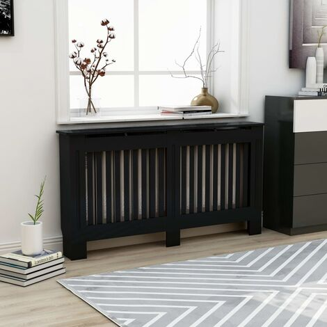 Cache-radiateur Noir 152x19x81 cm MDF