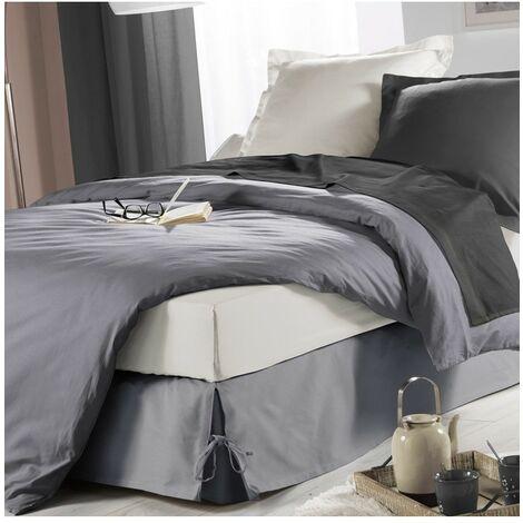 Cache sommier à nouettes 140x190 cm Sommina gris - Gris