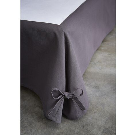 Cache sommier intégral coton anthracite 160x200 - Anthracite