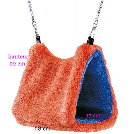 Cachette en peluche pour rongeurs 28 x 17 x 22 cm H. bleu et orange.