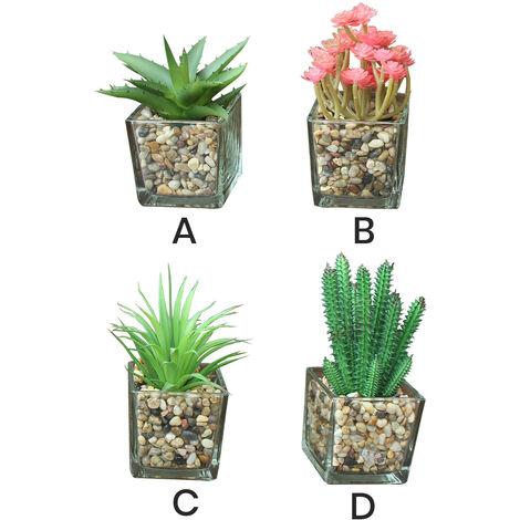 Cactus artificial para decoración con maceta de cristal - Diseño Natural - Hogar y más Modelo - A