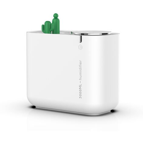 Cactus Humidifier grande capacite Mute Humidification Air Fresher Usage domestique Bureau voiture lumiere coloree double Spraying bouche Mist Diffuseur d'air, blanc