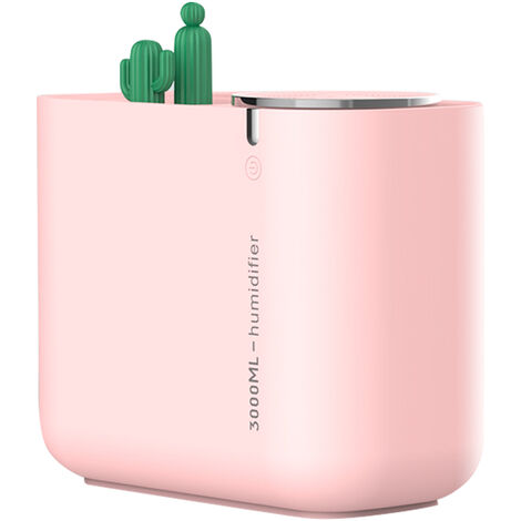 Cactus Humidifier Grande Capacite Mute Humidification Air Fresher Usage Voiture Lumiere Coloree Double Spraying Bouche Mist Diffuseur D'Air, Rose