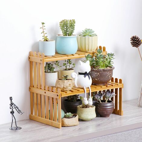 Cactus Succulent Plant Flower Pots Bamboo Shelf Garden Storage Rack (A47)