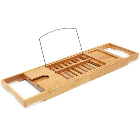 Caddy Luxury Slim Top Bamboo Wood Bath Rack Storage Tidy Bath Bridge