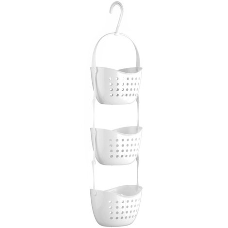 CADDY - Plastic Shower / Bathroom / Kitchen Hanging Storage Baskets - White