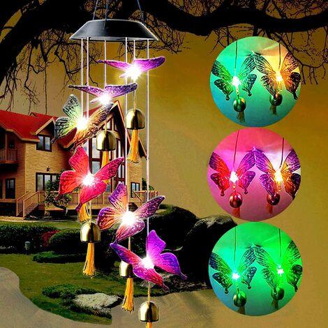 Cadeaux commémoratifs de carillon éolien de papillon solaire Beau décor pour le jardin de patio à l'extérieur du couloir de porche extérieur Maison et cour 27 '' Meilleurs cadeaux de carillons éoliens pour maman grand-mère femmes