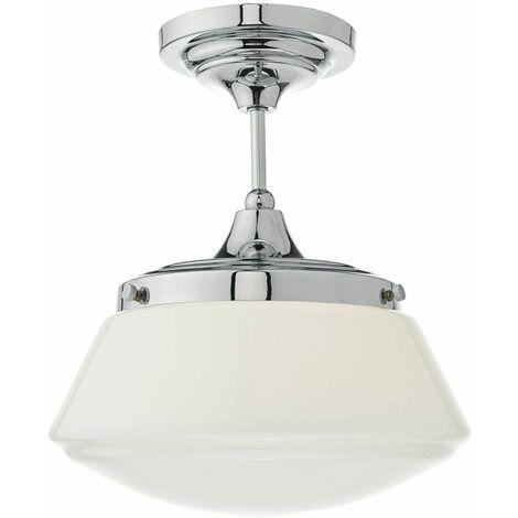 Caden ceiling light polished chrome and opal glass 1 bulb