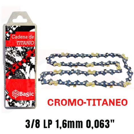 Cadena cromo titanio Basic 3/8 LP 1,6mm 0,063 60 Eslabones