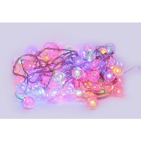 Cadena de LEDs 10 metros 100 bolas multicolores RGB de efecto cristalino
