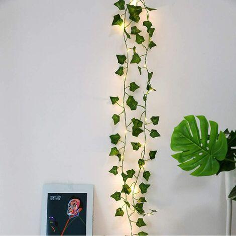 Cadena de luces LED, plantas artificiales, hoja de hiedra verde, vid para decoración del hogar, lámpara de boda, iluminación de jardín colgante de bricolaje, iluminación de patio, 2M 20 LED (hoja de arce)