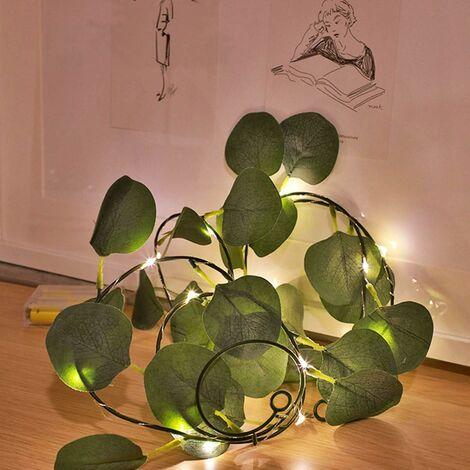 Cadena de luces LED Plantas artificiales Hojas de hiedra verde Vid para decoración del hogar Lámpara de boda DIY Iluminación colgante de jardín de jardín, 2M 20 LED (Hojas de vid)