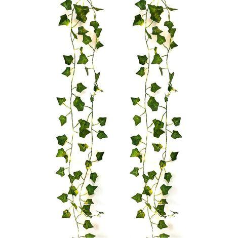 Cadena de luces LED Plantas artificiales Verde Ivy Leaf Vine para decoración del hogar Lámpara de boda DIY Iluminación colgante de jardín, 2M 20 LED (2 piezas de hoja de arce)