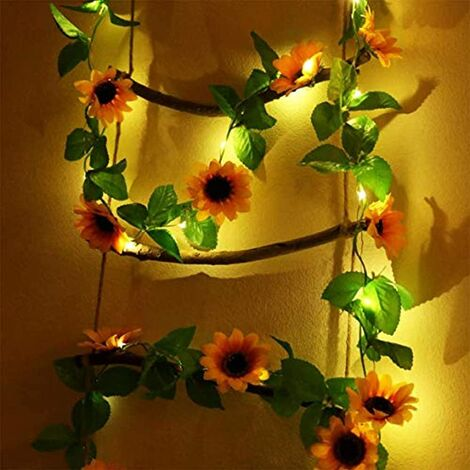 Cadena de luces LED Plantas artificiales Verde Ivy Leaf Vine para decoración del hogar Lámpara de boda DIY Lámpara colgante de jardín Iluminación de patio, 2M 20 Leds (1 pieza de girasol)