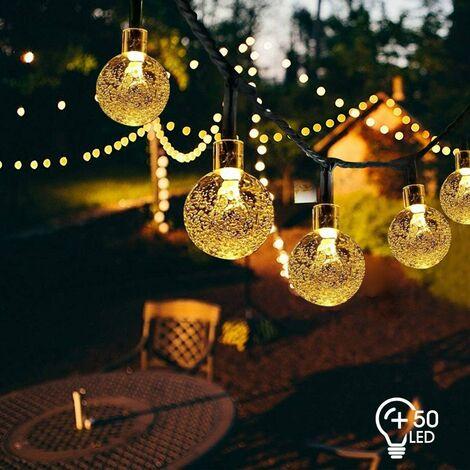 Cadena de luces Luces de cadena solares al aire libre 7M 50 LED Luces de cadena de bola solar 8 modos Impermeable IP65 Interior al aire libre para jardín, patio, boda, decoración navideña