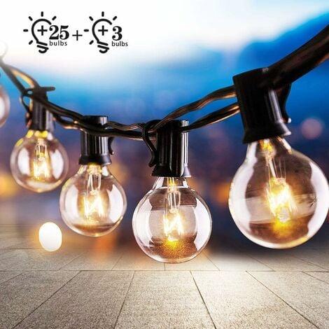 Cadena de luces para exteriores e interiores, cadena de luces de 7,62 metros con 25 + 3 bombillas, cadena de luces decorativas impermeables G40 para jardín, fiesta, patio, boda, Navidad