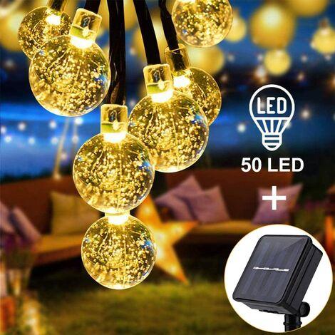 Cadena de luces solares, 7 m / 23 pies, 50 bolas de cristal LED, cadena de luces, luces decorativas impermeables para interiores y exteriores, fiestas en el jardín, patio, bodas, 8 modos (blanco cálido)