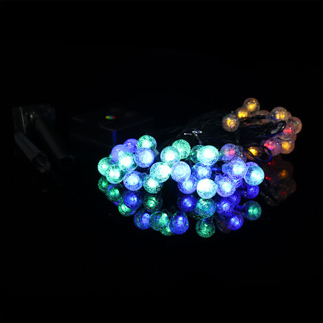Cadena de luces solares Bolas de cristal Cadena de luces LED a prueba de agua 8 modos con energía solar Cadena de luces solares al aire libre para decoración de banquete de boda de Navidad de jardín (multicolor, 9.5M 50LED)