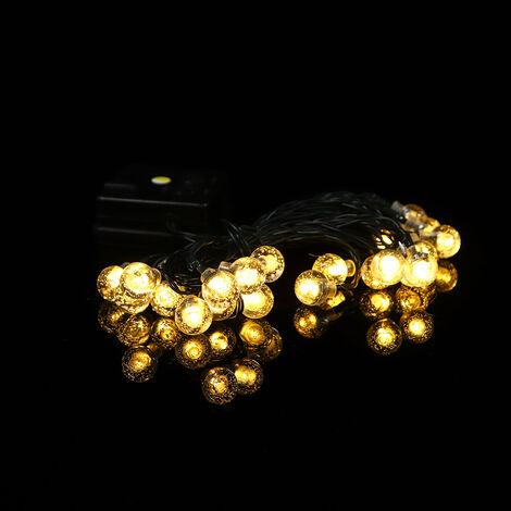 Cadena de luces solares para jardín al aire libre, multicolor, impermeable, con bolas de cristal, luces decorativas, iluminación para el hogar, jardín, patio, patio, Navidad (blanco cálido, 5M 20LED)