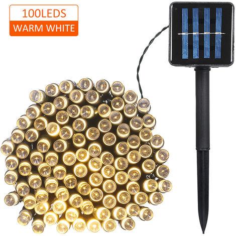 Cadena de luz, 100 LED, 2 modos de iluminacion, Luz de Navidad, calida luz electrica solar
