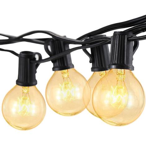 Cadena de luz incandescente G40, 2 lamparas de repuesto