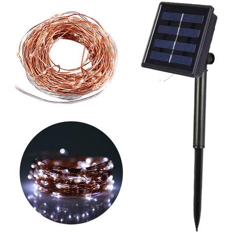 Cadena de luz solar de cobre, cadena de luz de jardin, 10m, luz blanca