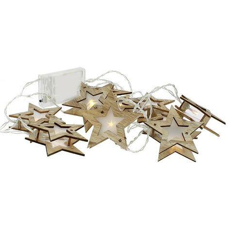 Cadena LED 10 estrellas en madera blanca cálida