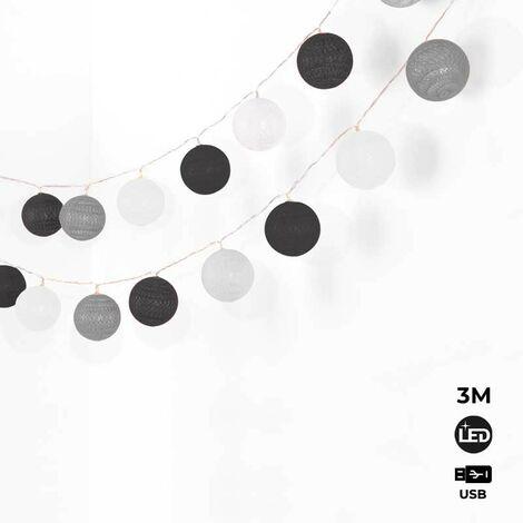 Cadena luminosa LED 20 Bolas de algodón con USB 3m-IP44-4cm