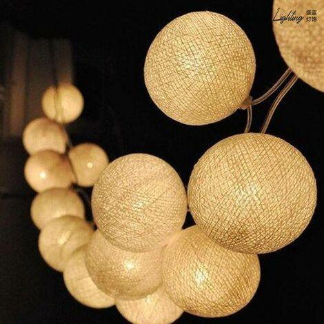 Cadena luminosa LED guirnalda de 20 bolas de algodón 2,5 metros USB