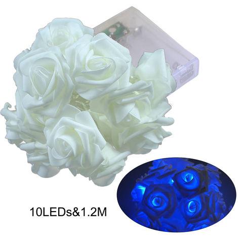 Cadena para lampara navidena, 10 LED, luces navidenas rosas 1.2M, AZUL
