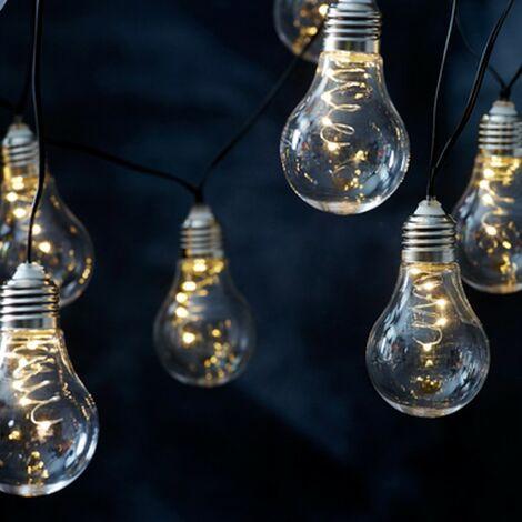 Cadena solar de 10 bombillas LED de luz blanca cálida