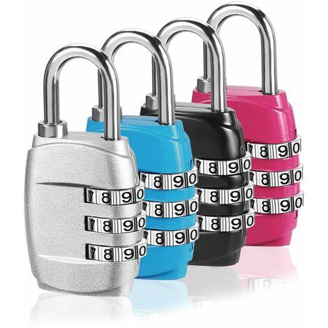 Cadenas à bagages, cadenas à combinaison, cadenas de vélo, (paquet de 4) Codes de cadenas à combinaison à 3 chiffres avec corps en alliage pour sac de voyage, valise, casiers, salle de sport - noir, bleu, rose et argent