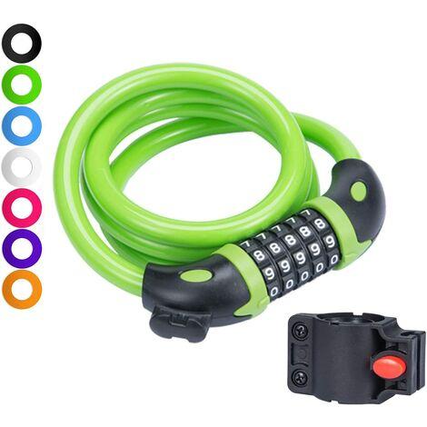 Cadenas à chaîne de vélo avec 5 chiffres réinitialisable et support de montage, câble enroulable à combinaison idéal pour vélo en plein air – 10,2 x 12,7 cm