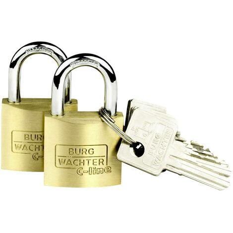 Cadenas avec serrure à clé Burg Wächter 2er Set Duo 222 30 SB laiton 2 pc(s)