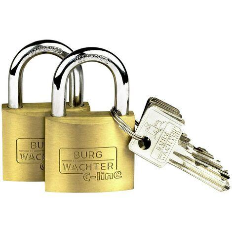 Cadenas avec serrure à clé Burg Wächter 2er Set Quadro 222 40 SB laiton 2 pc(s)