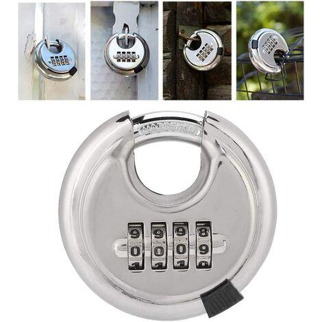 Cadenas de mot de passe, cadenas rond de combinaison de clé de cadenas rond en acier inoxydable 70mm épaissi 9. 5mm pour l'argent extérieur de barrières