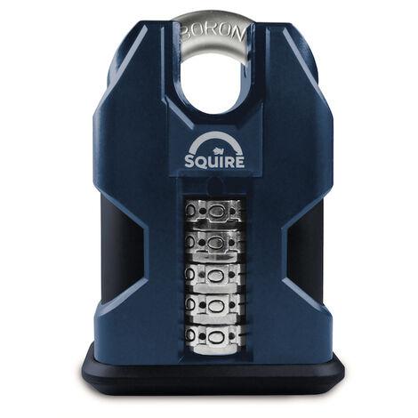 Cadenas haute sécurité à code et anse protégée 50 mm Squire SS50C COMBI - Bleu