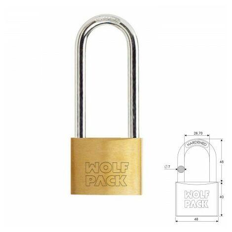 Cadenas wolfpack laiton anse longue clés identiques 50 mm. nº2.