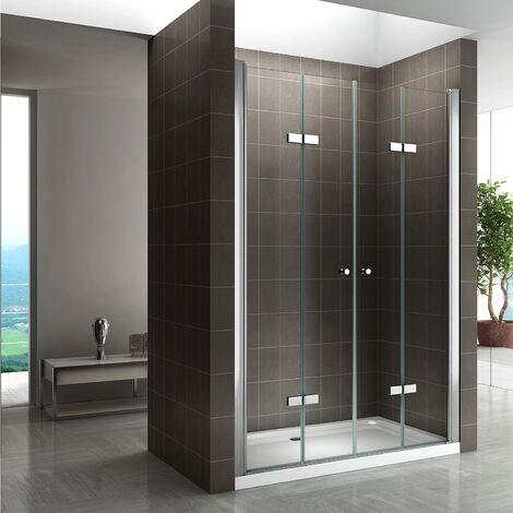 CADENTRO Porte de douche pliante. Hauteur 185 cm - Verre TRANSPARENT