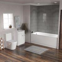 Cadley Bath White Suite WC Close Coupled Toilet - Freestanding Basin Vanity Unit