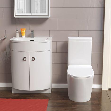 Cadley Bathroom WC Closed Coupled Toilet - Freestanding Basin Vanity Unit