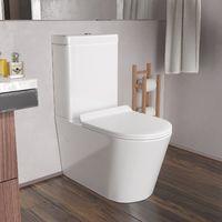 Cadley Modern White Bathroom Close Coupled Toilet Wc Pan Seat Ceramic Dual Flush Button